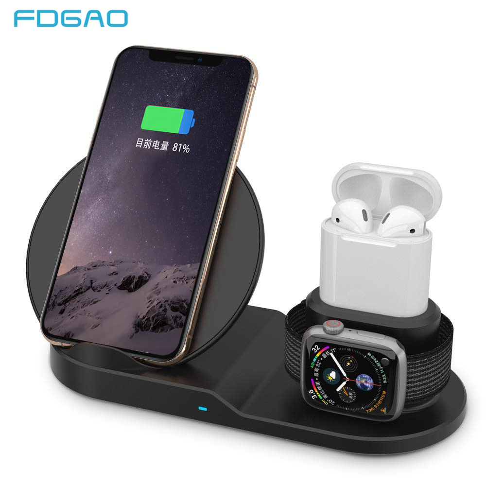 Chargeur sans fil FDGAO Qi Charge rapide pour iPhone 8 X XS Max XR Apple Watch 4 3 2 Airpods 10 W Charge rapide pour Samsung S9 S8 S7Chargeur sans fil FDGAO Qi Charge rapide pour iPhone 8 X XS Max XR Apple Watch 4 3 2 Airpods 10 W Charge rapide pour Samsung S9 S8 S7
