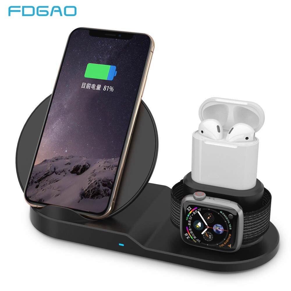 FDGAO cargador inalámbrico Qi de carga rápida para iPhone 8 X XS X Max XR Apple Watch 4 3 2 Airpods 10 W de carga rápida para Samsung S9 S8 S7