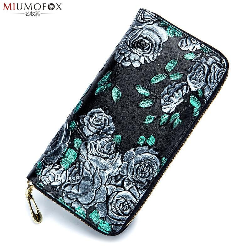 New Embossing Genuine Leather Wallet for Women Flower Print Lady Long Wallets Clutch Female Purse Card Holder Women Wallet W35