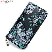 New Embossing Genuine Leather Wallet for Women Flower Print Lady Long Wallets Clutch Female Purse Card Holder Women Wallet W35