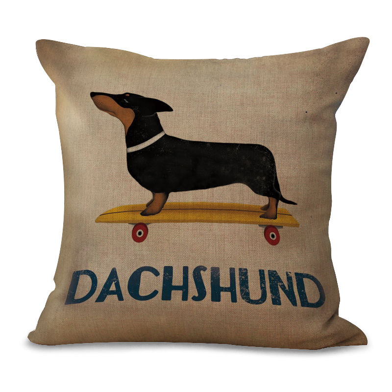Square Cute Dachshund Pillow Case Animal Pet Pillows Covers Dachshund Cushion Cover for Home Sofa Decorations Pillowcase