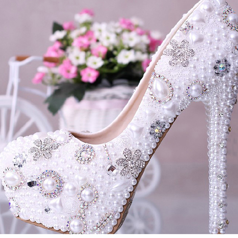 Luxurious Elegant 14cm Super High Heel Wedding Dress Shoes Woman Party Prom Shoes Wedding Bridal Shoes with Imitation Pearl beautiful fashion blue wedding shoes for woman rhinestone bridal dress shoes lady high heel luxurious party prom shoes
