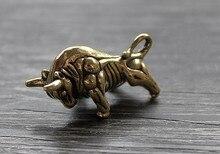 Solid Brass Bull EDC Keychain Pendant Key Zipper Head Accessories