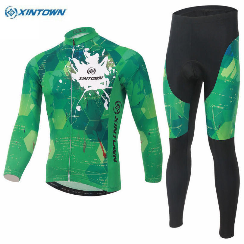 XINTOWN Cycling Team Men Clothing Bike Ropa Ciclismo Bicycle Long Sleeve Jersey BIB Pant Sets Polyester