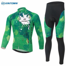 XINTOWN Cycling Team Men Clothing Bike Ropa Ciclismo Bicycle Long Sleeve Jersey&(BIB) Pant Sets Polyester