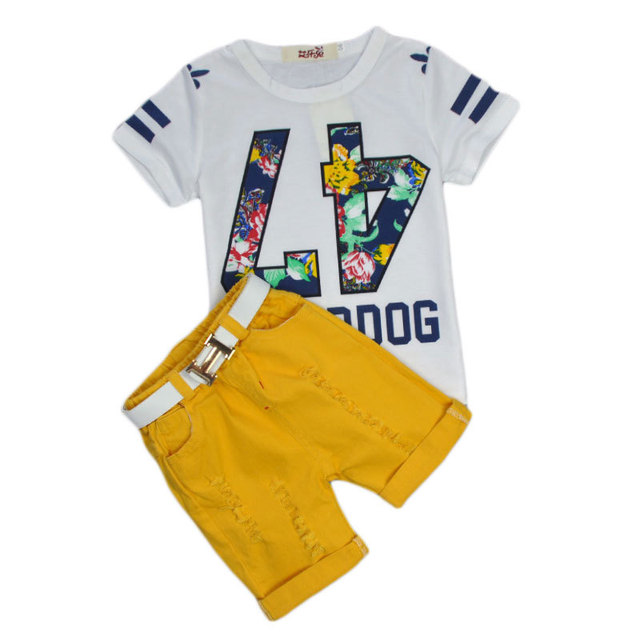 79e2260dd9d9 2018 2-6 Age Boy Brand Set Summer for Children Clothing Sets Baby Boys T  Shirts+shorts+belt 3pcs Pants Sports Suit Kids Clothes
