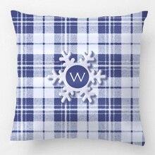 Pldesign Blue Christmas Tartan Snowflake Wedding Decorative Cushion Cover Pillow Case Customize Gift For Sofa Seat