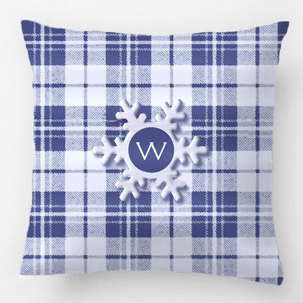 Pldesign Blue Christmas font b Tartan b font Snowflake Wedding Decorative Cushion Cover Pillow Case Customize