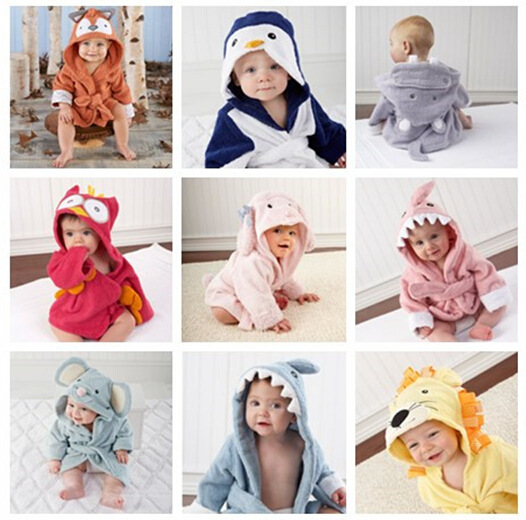 15 color baby bathrobe bathrobe Pure cotton water imbibition is strong Cute cartoon modelling pajamas For 1 to 2 years old baby