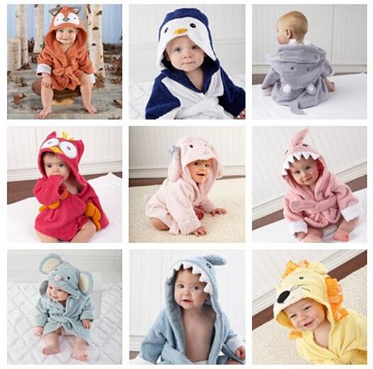 15 colores albornoz albornoz del bebé algodón puro agua de imbibición es fuerte modelado lindo de la historieta pijamas para 1 a 2 años de edad del bebé