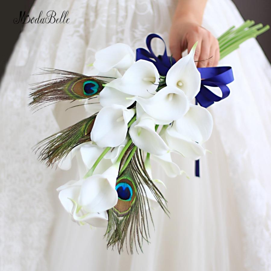 Modabelle Custom White Calla Peacock Wedding Bouquet