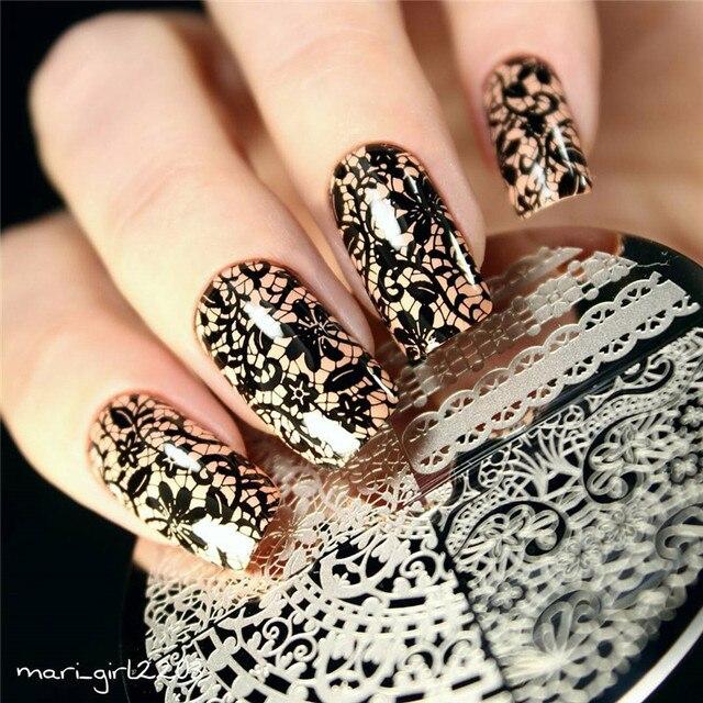 1 stck chic spitze muster nail art stempel vorlage bild platte geboren ziemlich bp02 nagel vorlage - Nailart Muster