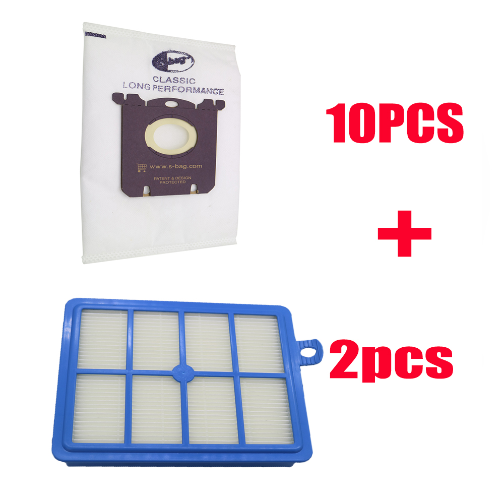 12pcs/set Free Shipping 2 Replacement hepa filter 10pcs Dust Bags for Electrolux Vacuum Cleaner filter electrolux hepa and S-BAG free shipping 10pcs ch9055a s ch9055c s