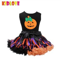 KIDLOVE Baby Girls Tutu Pumpkin Dress Halloween Costumes Children Clothing Vest Dress Party Dress Up Outfits