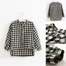 Cotton Children's Blouses Girls Plaid Shirts Long Sleeve 2017 New Autumn Kids Top For Toddler Child Clothing casual girls tees