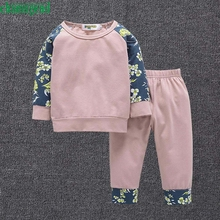 2017 cute Pink  2pcs Toddler Infant Baby Boy Girl Clothes Set Floral sweater Tops+Pants trousers Outfits P30 baby clothes