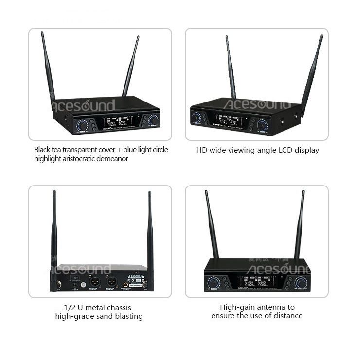 US $358 0 |ACEMIC EX 200/GT 2 UHF 660 690 MHz Dual Channels Wireless Guitar  Microphone 2(two) channels IR sync Super anti interference-in Microphones