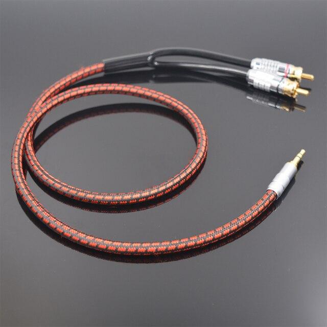 Monsterprolink Standaard 100 Stereo 3.5Mm Naar 2RCA Audio Y Kabel Rood Voor MP3 Cd Dvd Tv Pc Audiophile Kabel gratis Verzending