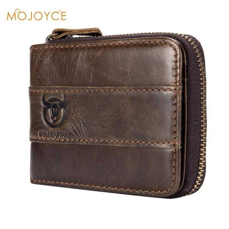 mitad de descuento 6da1b 917a1 BULLCAPTAIN Vintage hombres billetera de cuero genuino carteras cortas de  diseño único carteras hombre cremallera monedero tarjetero