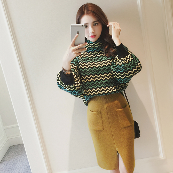 new striped turtleneck pullover sweater suits waves rabbit hair skirts women skirt clothing set knitwear winter autumn outfit