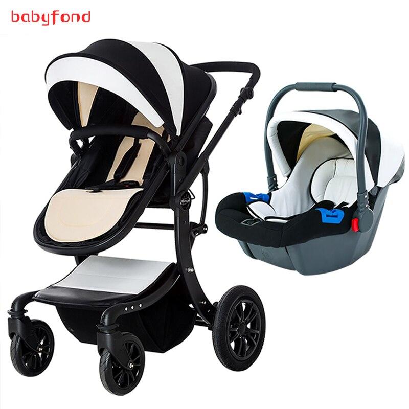 3 en 1 bébé poussette avec siège de voiture confortable peut être couché à double usage bébé chariot européen haut paysage pliant enfant chariot