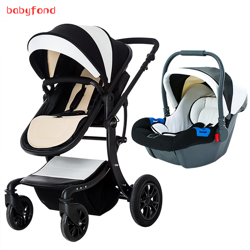 3-in-1 baby stroller with comfortable car seat can be lying dual-use baby carriage Europ ...