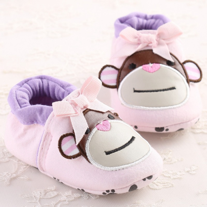 Baby Girls Shoes Infant Toddler Crib Baby First Walkers  Cartoon Monkey Shoes Soft Soled Anti-Slip Shoes 2019