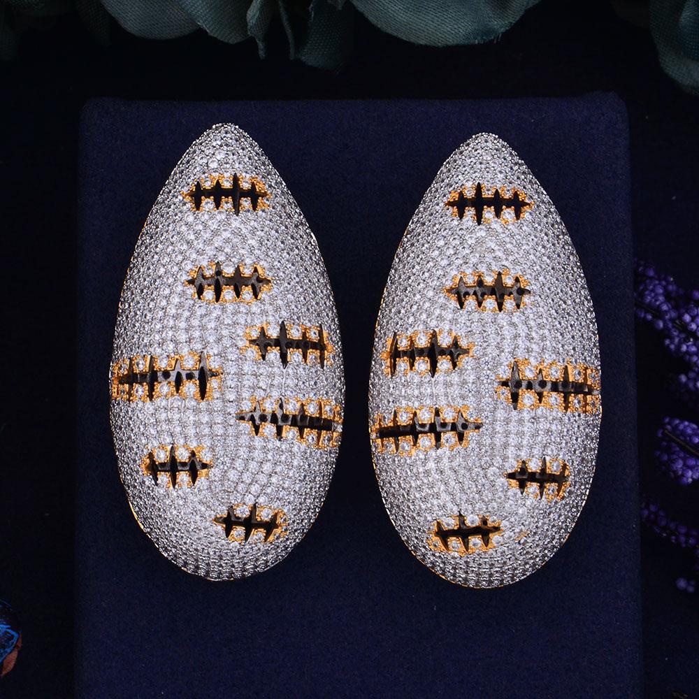 GODKI 57mm nouveauté luxe à la mode 3D goutte d'eau poisson os plein Mirco cubique Zirconium Naija mariage boucle d'oreille bijoux de mode