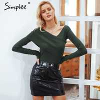 Simplee One shoulder long sleeve knitted women sweater top Softly cotton pullovers streetwear Casual autumn winter jumpers 2018