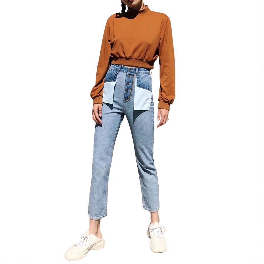 European style 2019 spring new women high waist slim vintage washed jeans, female brand designer casual inside-out denim pants