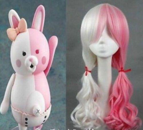 Coscienzioso Salute Parrucca Cosplay Lunga Parrucca Riccia Rosa Misto Bianco Parrucche Per Le Donne