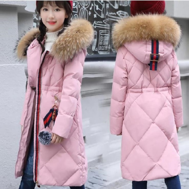 2017 Winter Fashion Girl's down Jackets Coats warm Rainbow Kids thick duck Down jacket Children Outerwears cold winter-30degree fashion boys down jackets coats for winter warm 2017 baby boy thick duck down coat real fur children outerwears for cold winter