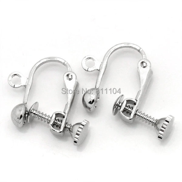 1 Pair 2 Silver Plated Brass Screwback Clip-On Earring Finding