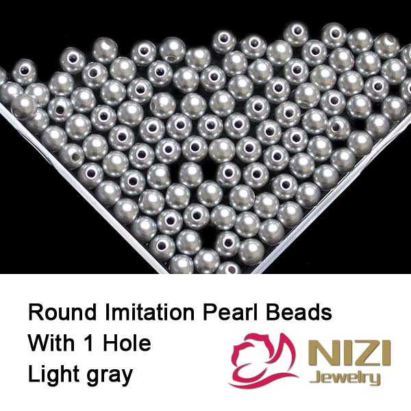 New Resin Imitation Round Pearl Beads With Hole 6mm 8mm 10mm 100g/bag Light Gray Imitation Round Pearl Beads For Jewelry Making new resin pearl beads 6mm 8mm 10mm resin round dark coffee imitation pearl beads with hole 100g bag perfect for diy decoration