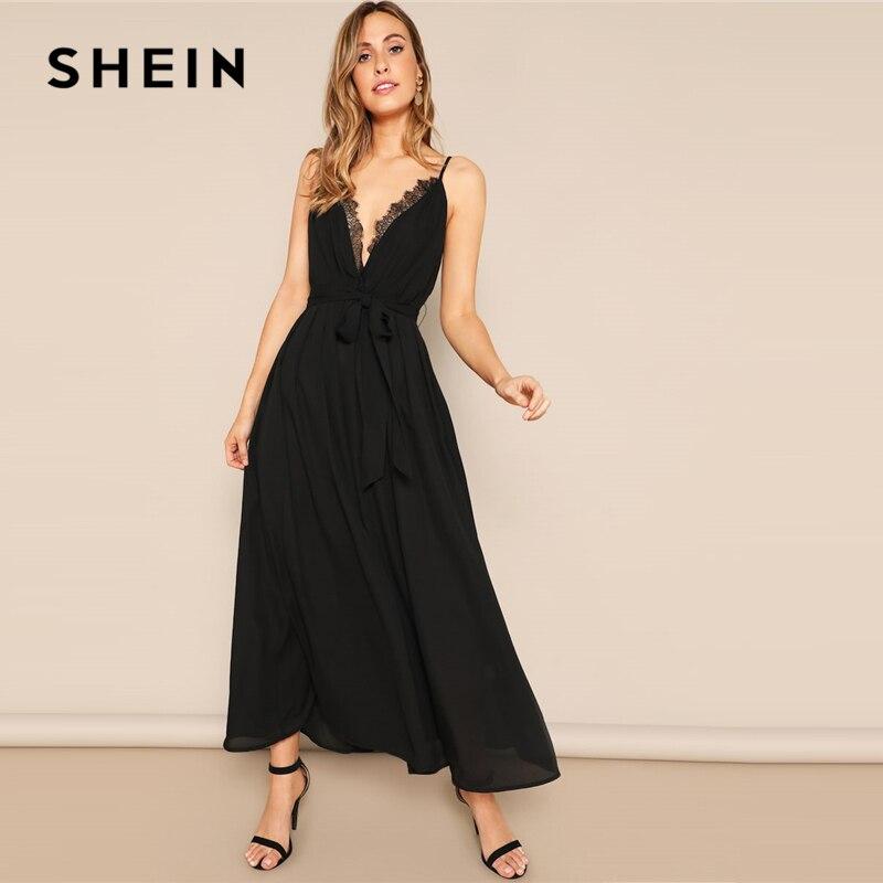 SHEIN Glamorous Black Plunging Neck Eyelash Lace Trim Belted Cami Dress 2019 Summer A Line Spaghetti Strap Sleeveless Dresses