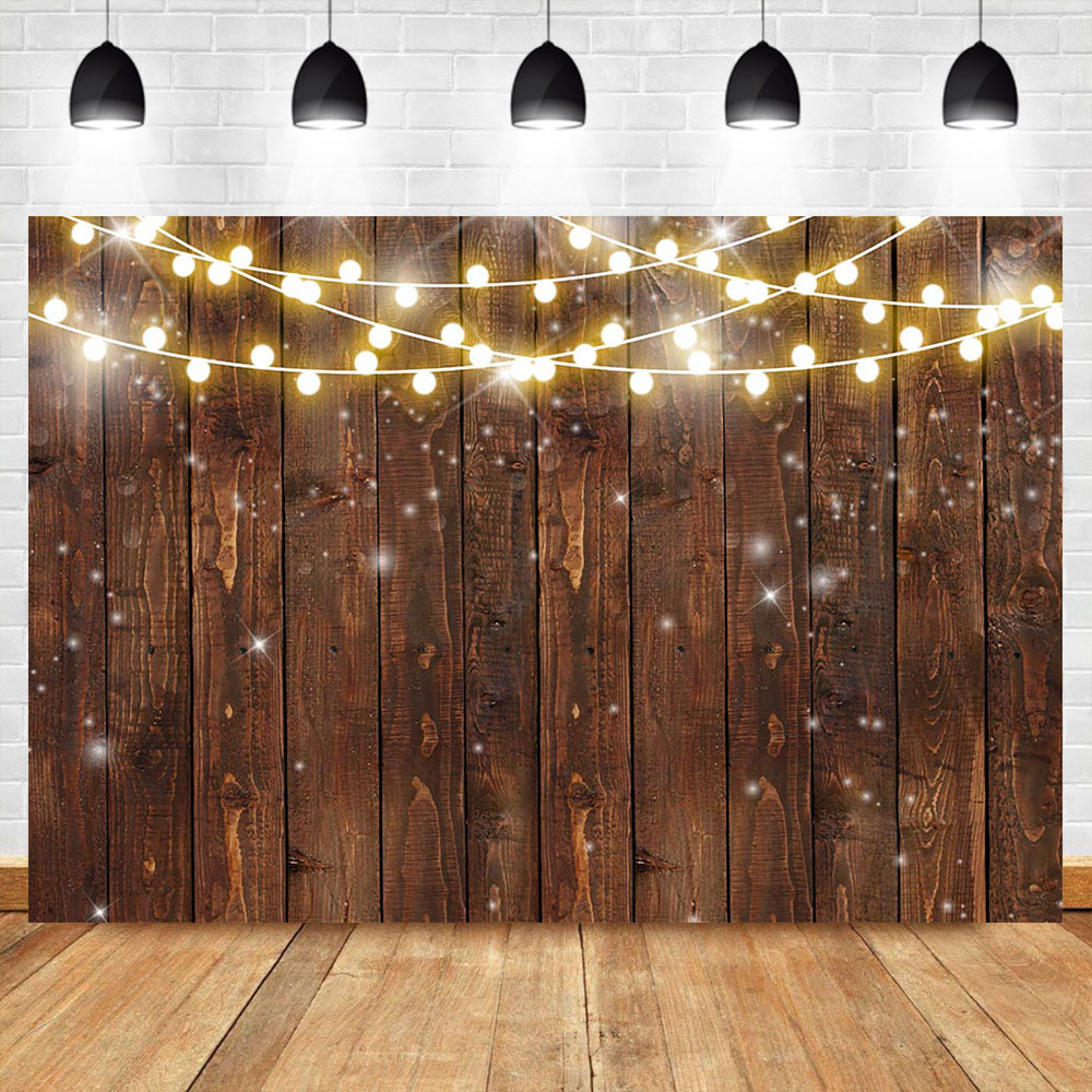 NeoBack Rustic Wood Photography Backdrop Shinning Lights Vintage Wooden Backdrops Wedding Birthday Baby Shower Photo Background