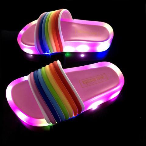 2019 adoravel doce arco iris bebe crianca led luminosa sapatos chinelos de bebe das criancas