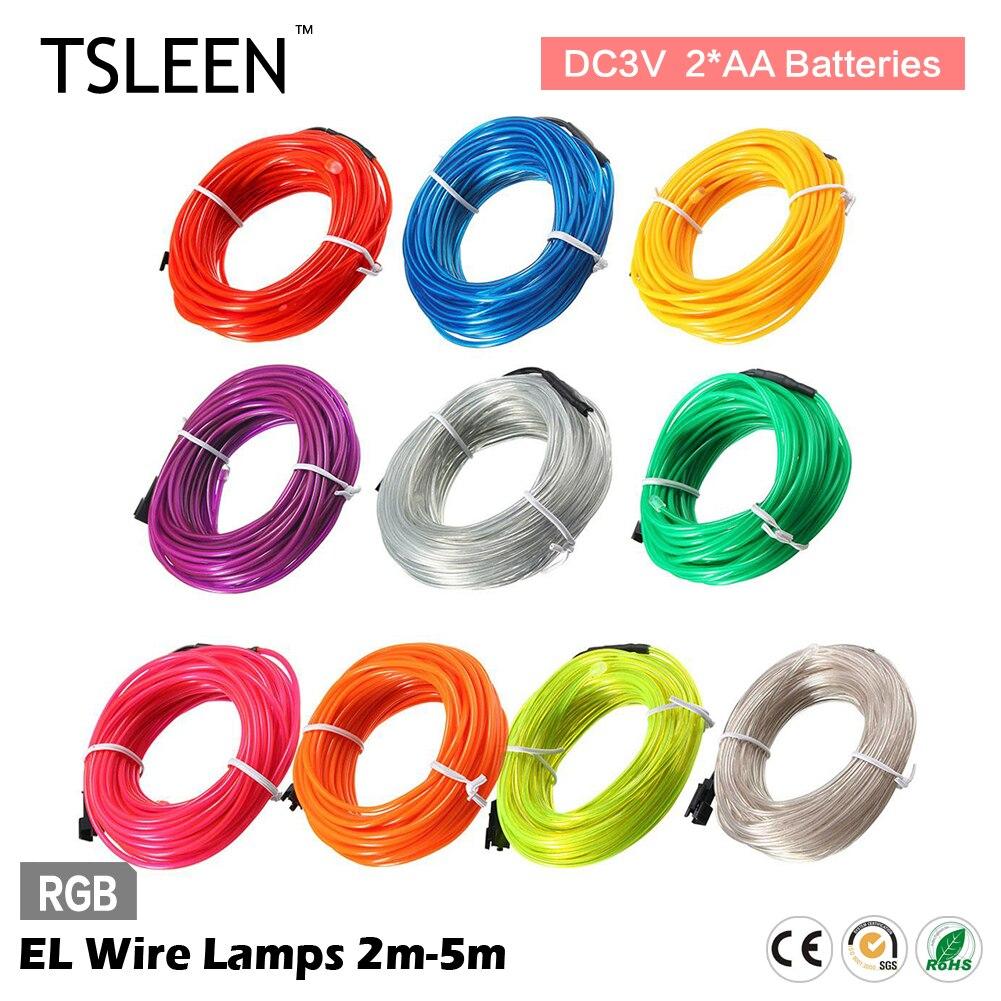 TSLEEN 2/3/5M Battery Powered Beautiful Flexible Neon Light Glowing ...