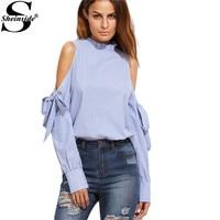 Sheinside Fall Women Clothes Womens Long Sleeve Top Brand Blue Vertical Striped Ruffle Collar Cold Shoulder