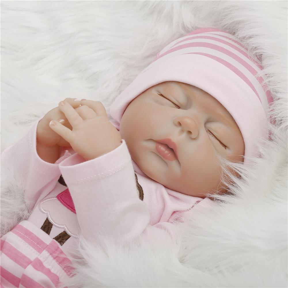 22 inch 57cm baby reborn Silicone dolls, lifelike doll reborn babies toys Pink suit dolls birthday gift