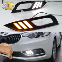For Kia K3 Cerato 2013 2014 2015 2016 SNCN Led Daytime Running Lights DRL fog lamp cover with Yellow Turning Signal Function