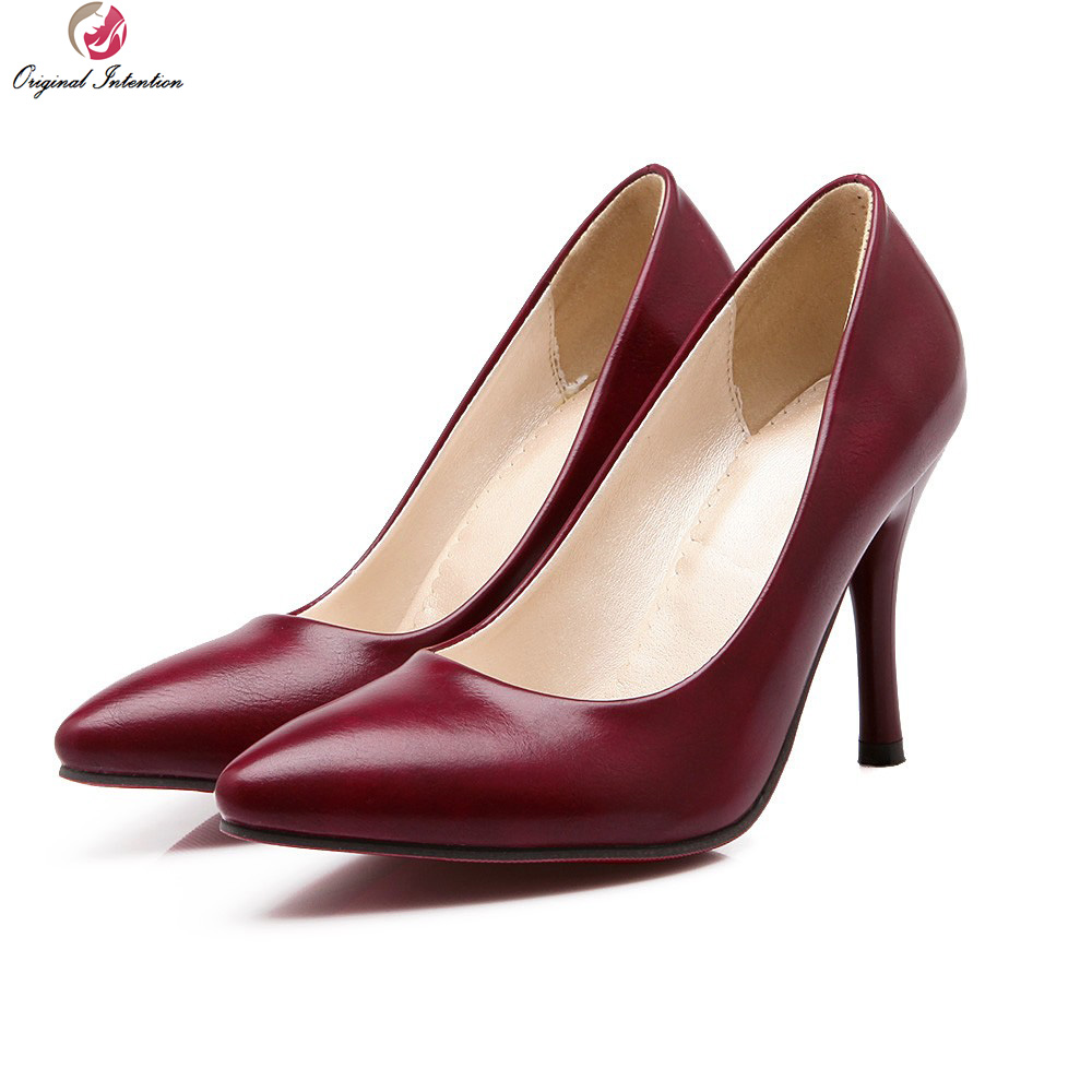 Original Intention New Classic Women Pumps Pointed Toe Thin High Heels Pumps Black Brown Wine Red Elegant Shoes Woman Plus Size asumer 2017 new high quality flock women pumps pointed toe high heels 8cm office lady dress shoes woman black wine red
