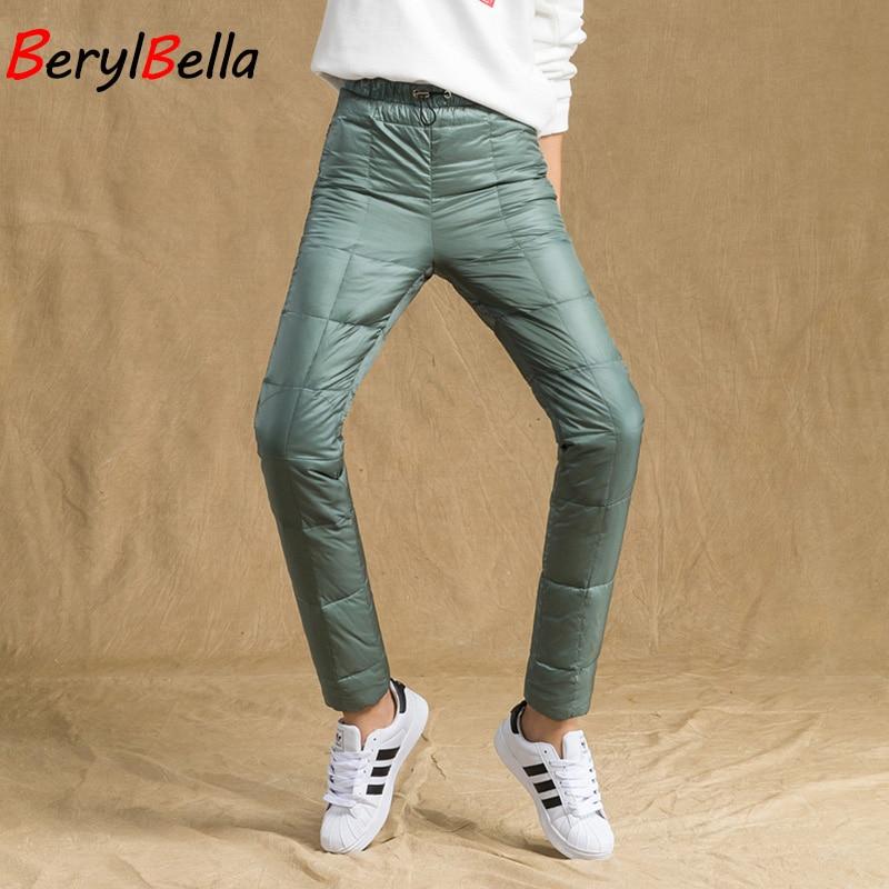 BerylBella Winter Outwear Women Duck Down Pants Casual Black Elastic Waist Warm Plus Size Thick  Trousers Pencil Pants Women