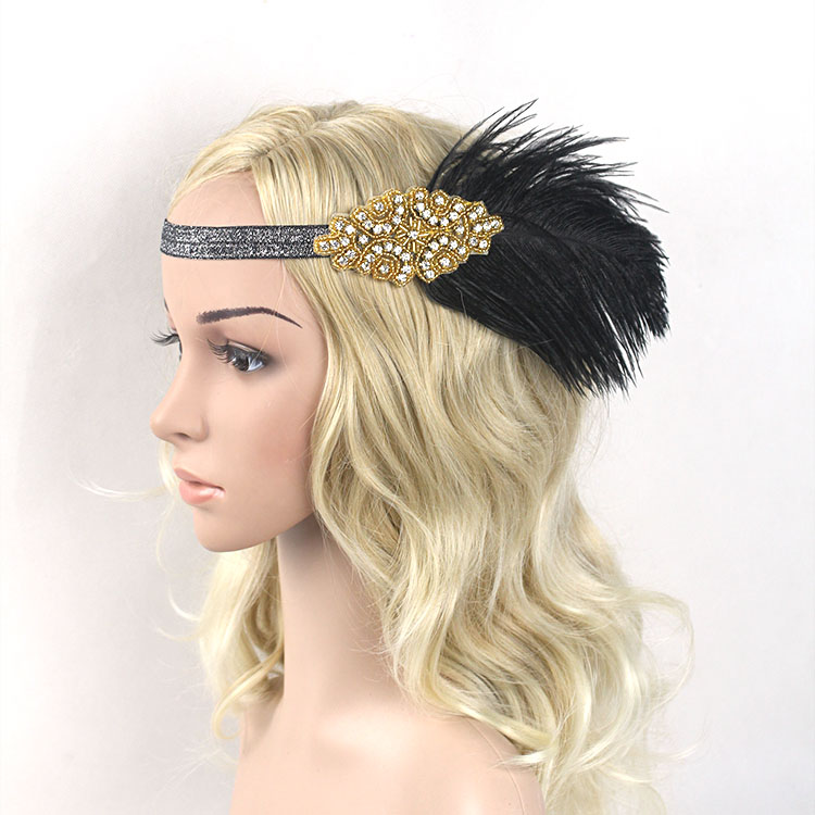 1920s Great Gatsby Headpiece Black Gold Beading Feather Vintage Headband Flapper Costume Party Gift 1