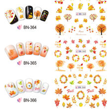 Nail sticker 12 Patterns/piece Thanksgiving Art Water Transfer Decal Sticker Maple Leaf