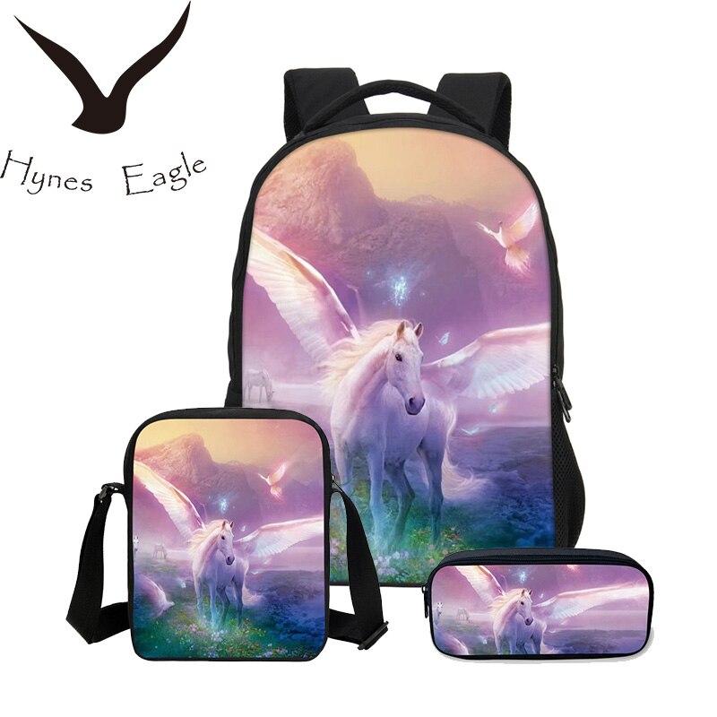 Hynes Eagle 3 pièces/ensemble 3D Animal Bookbag enfants sacs à dos hommes Cool Lion impression sac à dos sac d'école mode garçons sac à bandoulière