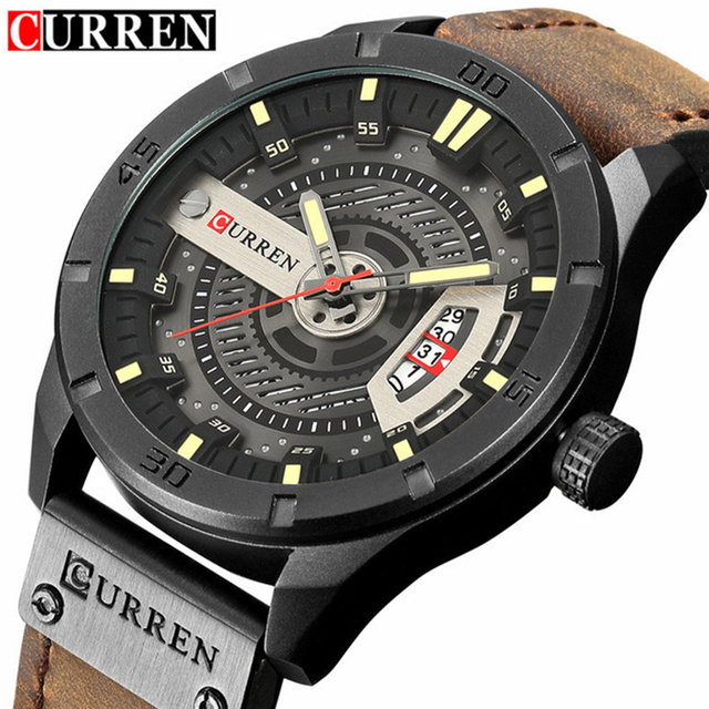 Leather Quartz Men Watch Casual Sport Clock
