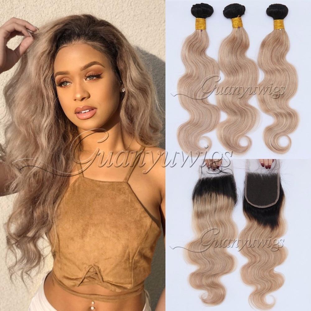 Guanyuhair Honey Blonde Bundles With Closure Brazilian Body Wave Remy Virgin Human Hair Weave 3 Bundles with 4x4 Lace Closure