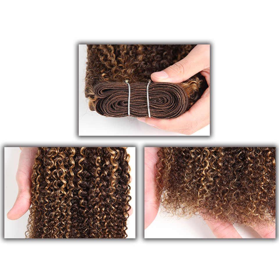 Гладкие курчавые волосы афро на Трессах кудрявые волосы 1 шт. только Омбре бразильские человеческие волосы плетение пучки сделки # P4-27 # P4-30 remy наращивание волос