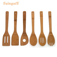 Utensil Sets 6PCS Wooden Spoon Bamboo Kitchen Cooking Utensil Tool Soup Teaspoon Catering U70731